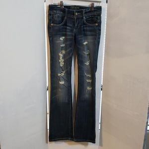 Decree ladies distressed bootcut jeans